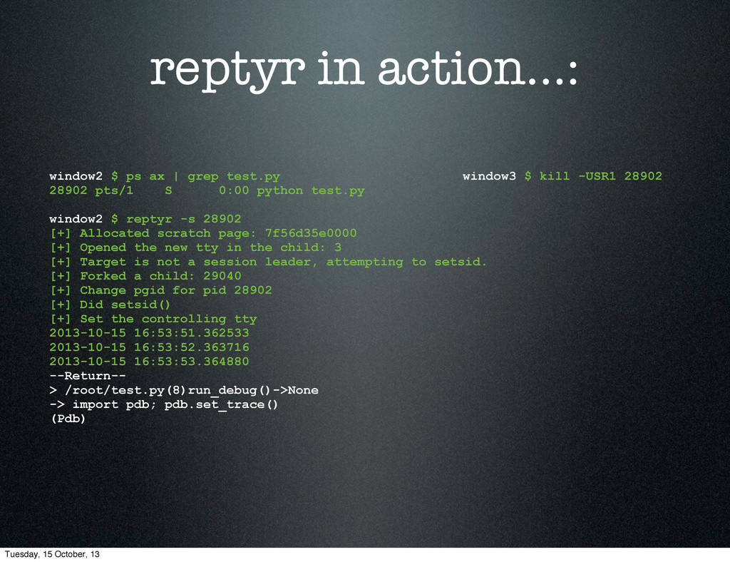 reptyr in action...: window2 $ ps ax | grep tes...