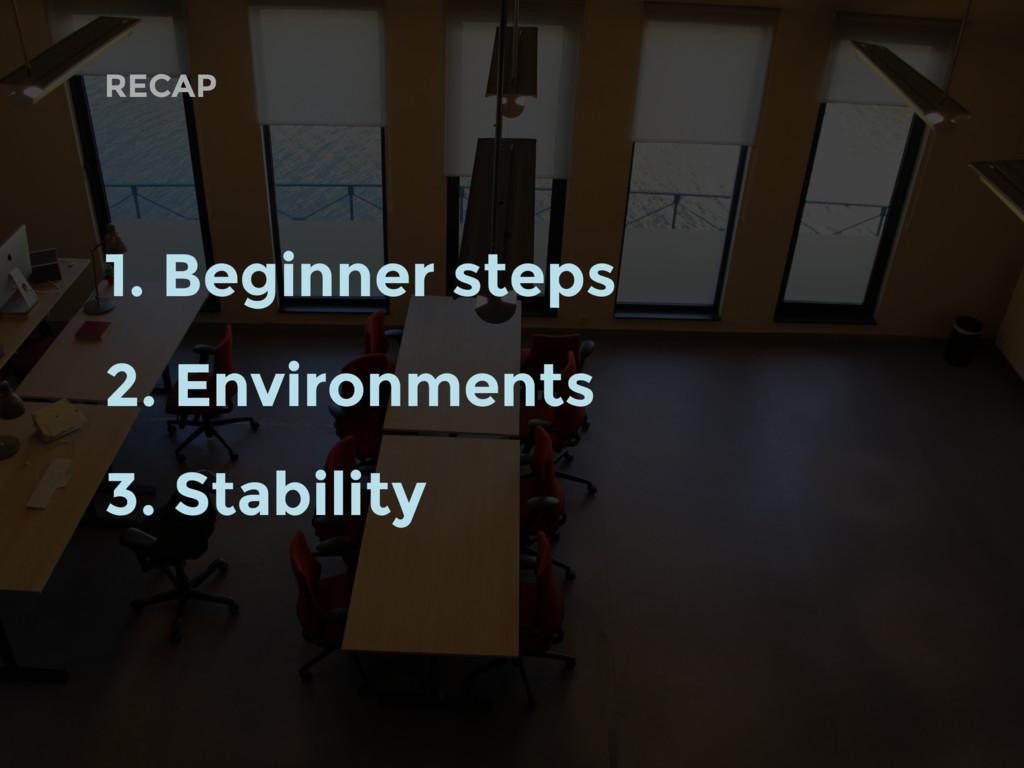 RECAP 1. Beginner steps 2. Environments 3. Stab...