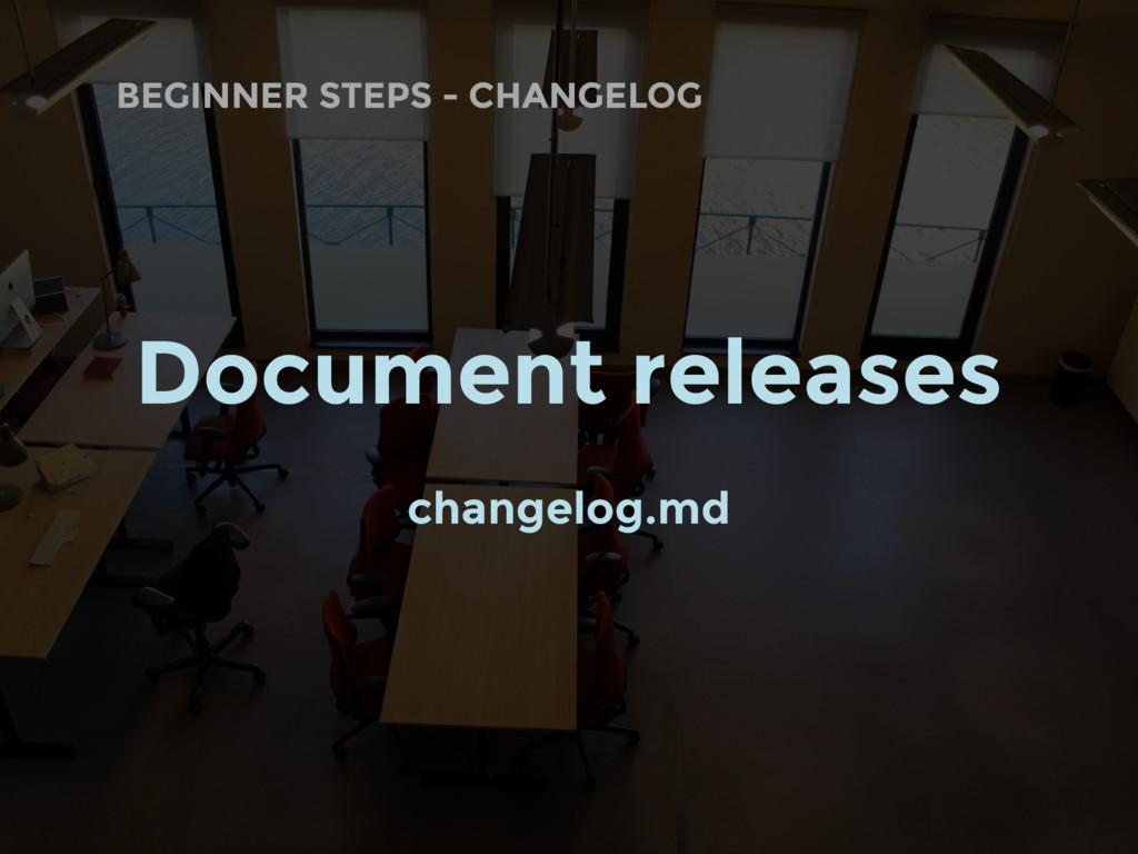 BEGINNER STEPS - CHANGELOG Document releases ch...