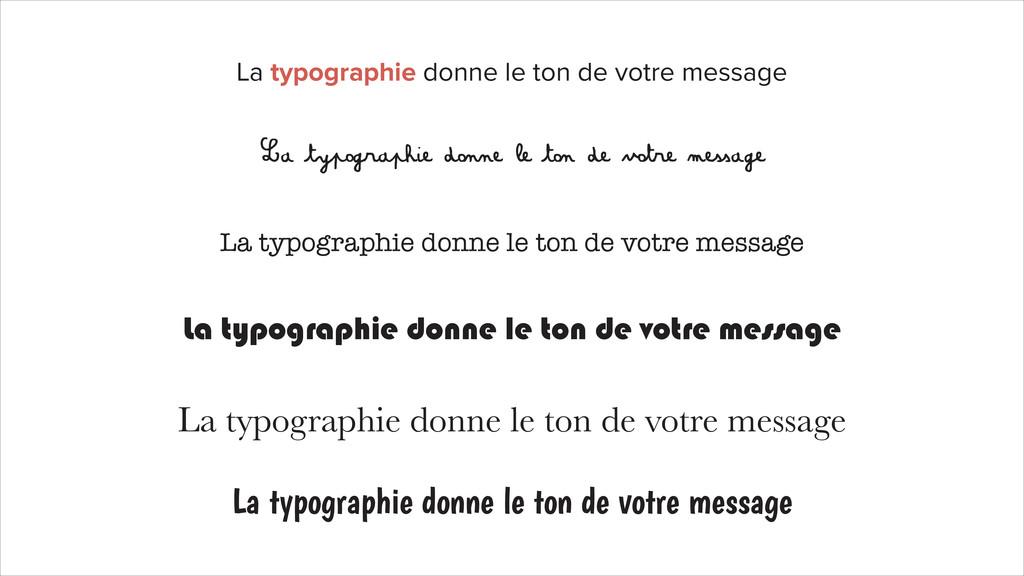 La typographie donne le ton de votre message La...