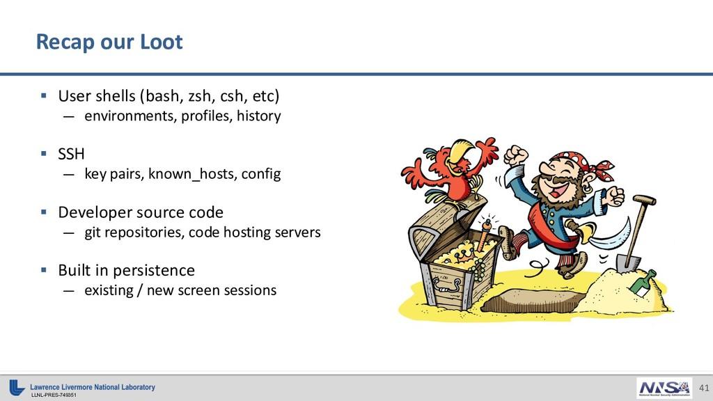 LLNL-PRES-749351 41 Recap our Loot § User shell...