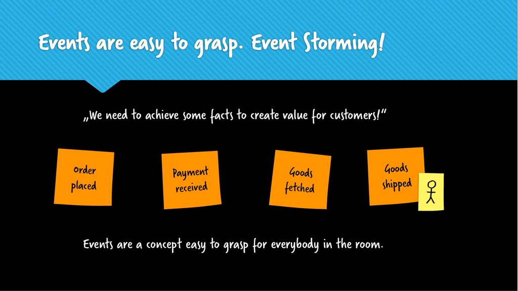 Events are easy to grasp. Event Storming! Goods...