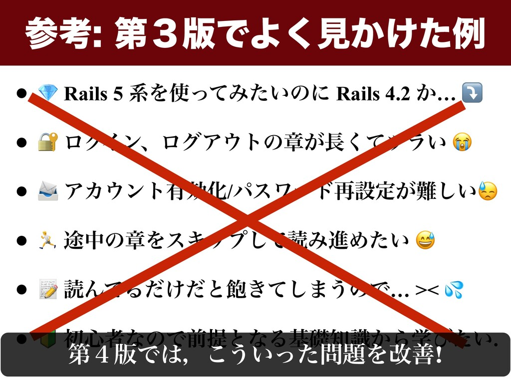 •  Rails 5 ܥΛͬͯΈ͍ͨͷʹ Rails 4.2 ͔… ⤵ •  ϩάΠϯɺϩά...