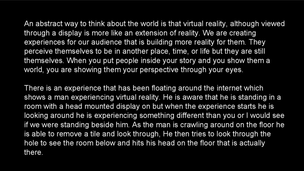 An abstract way to think about the world is tha...