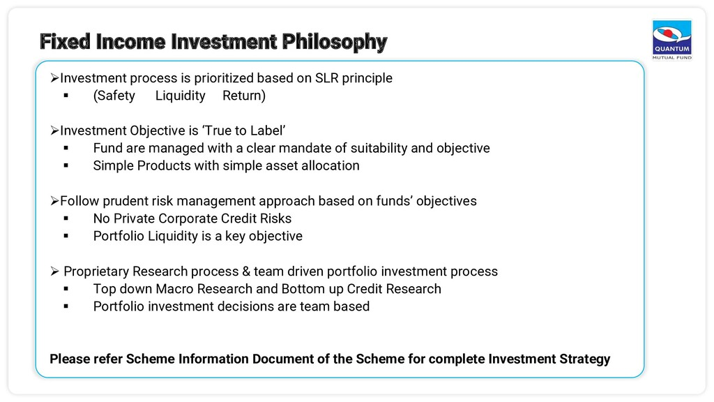 Fixed Income Investment Philosophy ➢Investment ...
