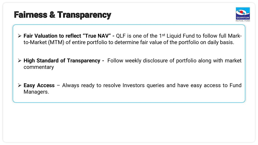 Fairness & Transparency ➢ Fair Valuation to ref...