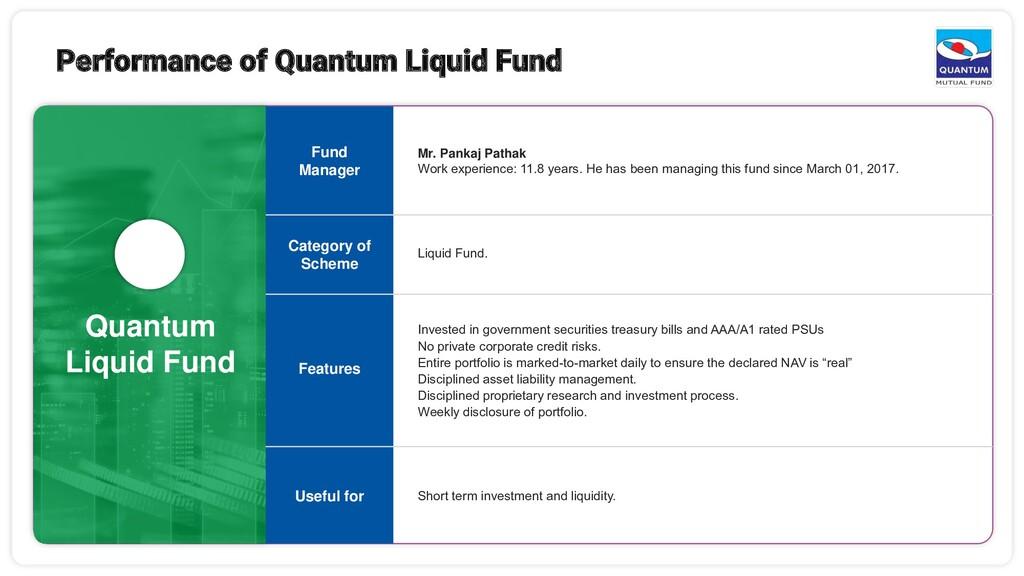Quantum Liquid Fund Mr. Pankaj Pathak Work expe...