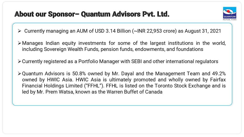 6 ➢ Currently managing an AUM of USD 3.14 Billi...