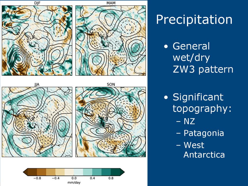 Precipitation • General wet/dry ZW3 pattern •...