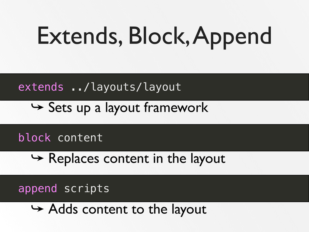 Extends, Block, Append extends ../layouts/layou...