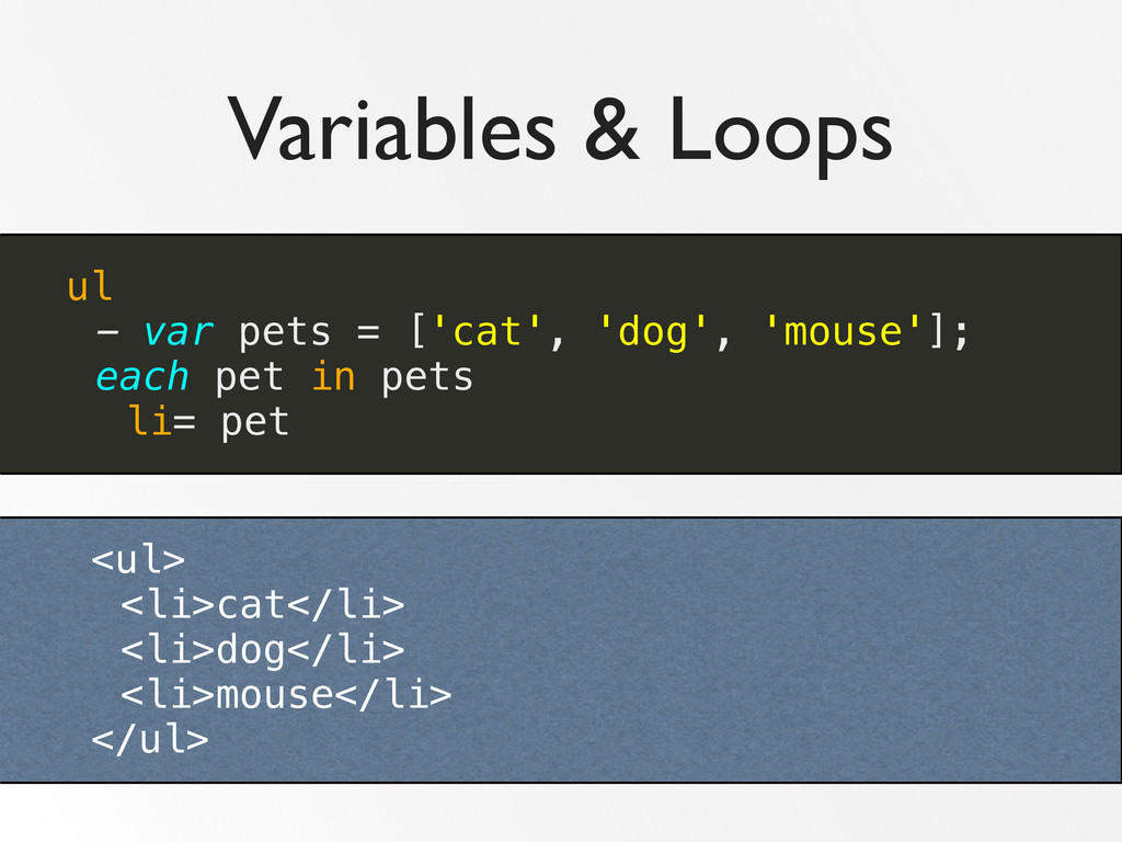Variables & Loops ul - var pets = ['cat', 'dog'...