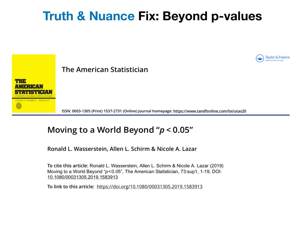 Truth & Nuance Fix: Beyond p-values