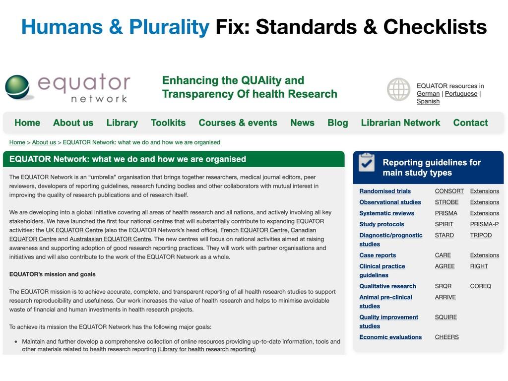 Humans & Plurality Fix: Standards & Checklists