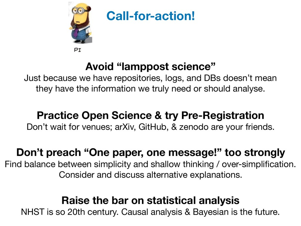 """Avoid """"lamppost science"""" Just because we have r..."""