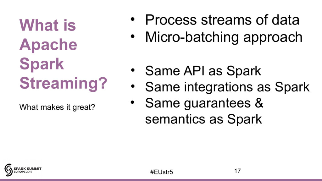 • Process streams of data • Micro-batching appr...
