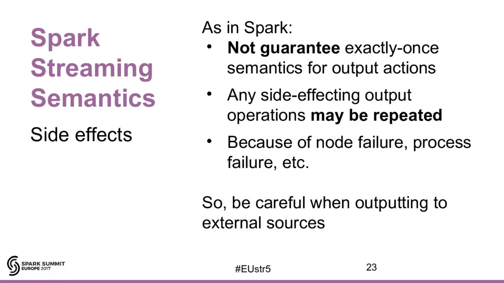Spark Streaming Semantics As in Spark: • Not gu...