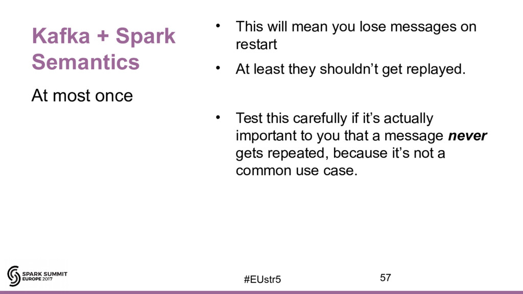 Kafka + Spark Semantics • This will mean you lo...