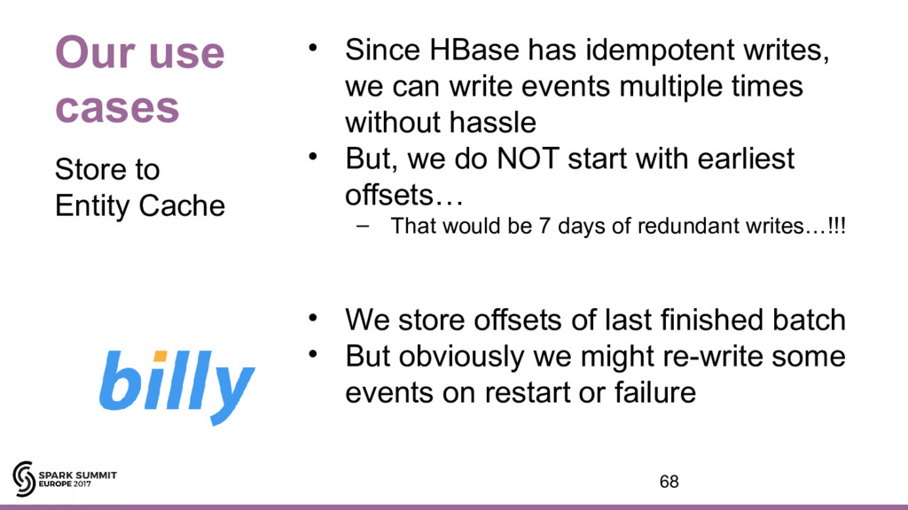 Our use cases • Since HBase has idempotent writ...