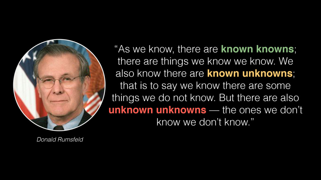"Donald Rumsfeld ""As we know, there are known kn..."