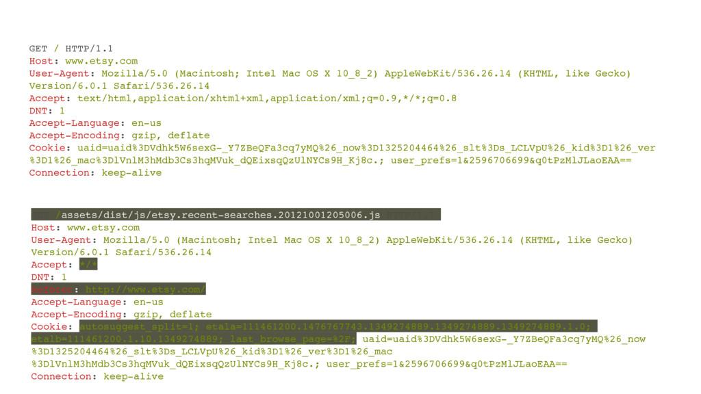 GET / HTTP/1.1! Host: www.etsy.com! User-Agent:...