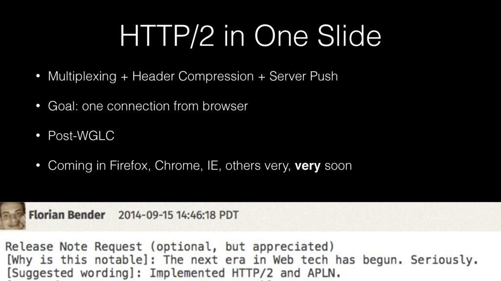HTTP/2 in One Slide • Multiplexing + Header Com...