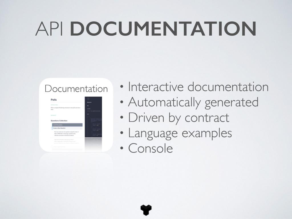 API DOCUMENTATION Documentation • Interactive d...