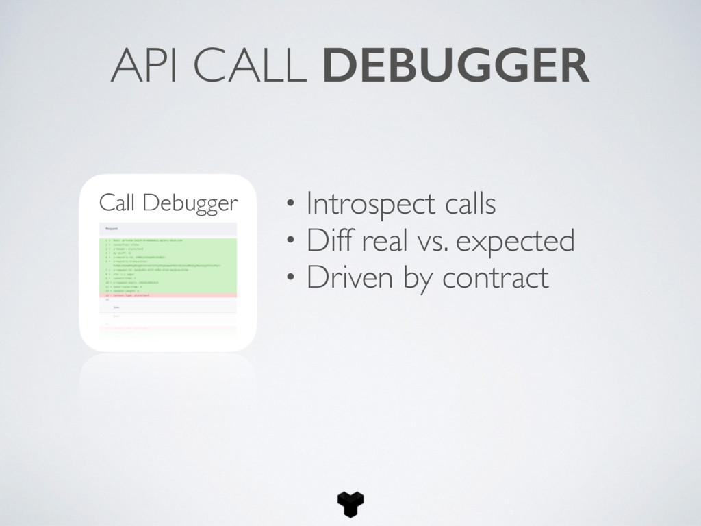 API CALL DEBUGGER Call Debugger • Introspect ca...