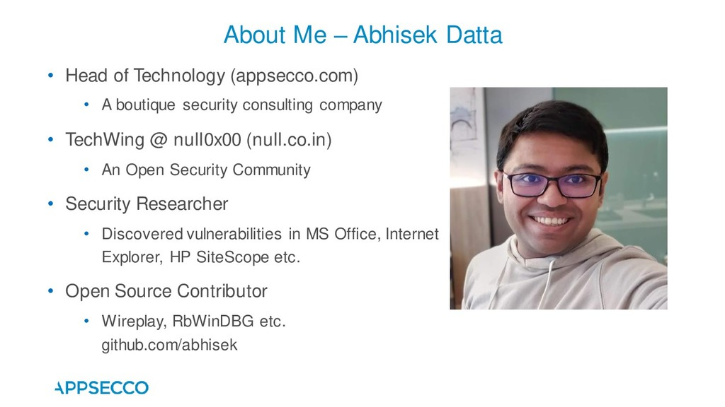 About Me – Abhisek Datta • Head of Technology (...