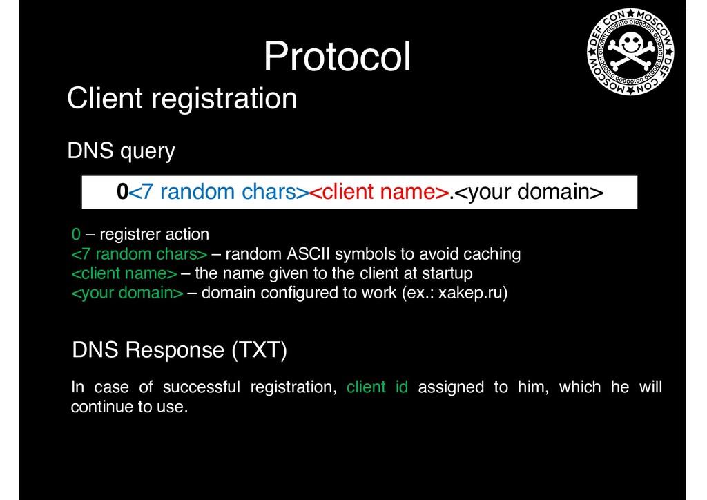 Protocol 0 – registrer action <7 random chars> ...