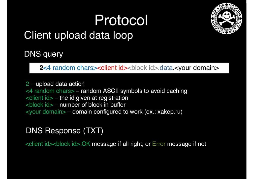 Protocol 2 – upload data action <4 random chars...