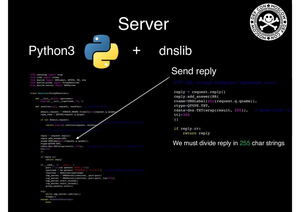 Server Python3 + dnslib Send reply We must divi...