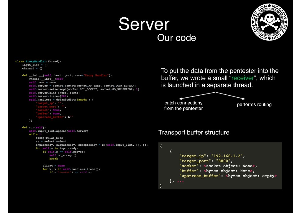 Server Our code To put the data from the pentes...