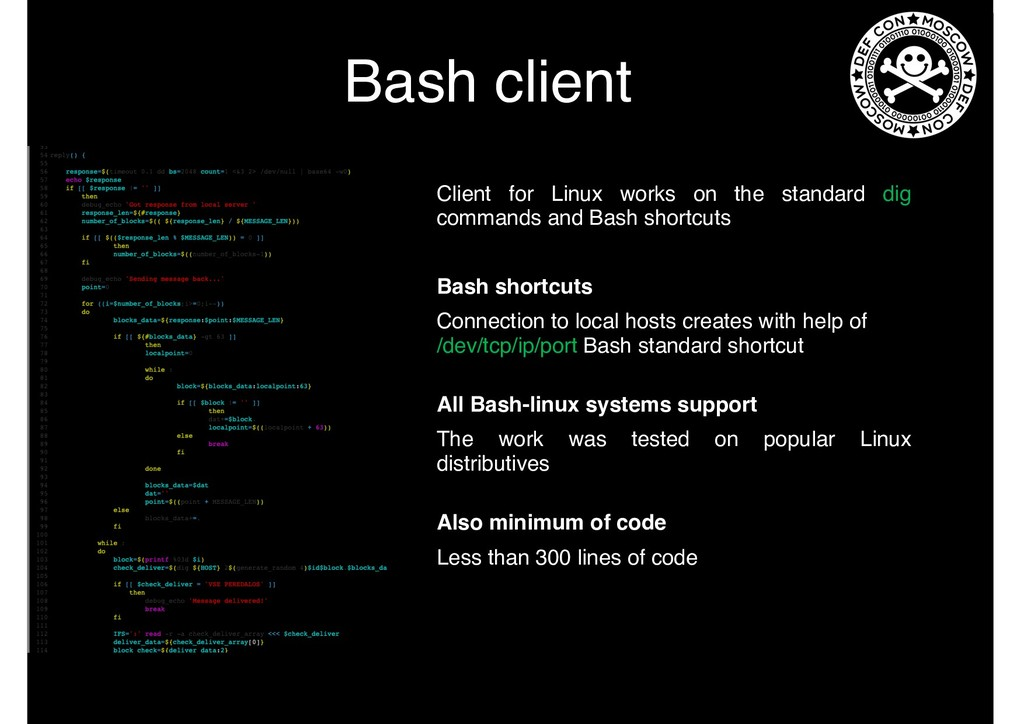 Bash client Client for Linux works on the stand...