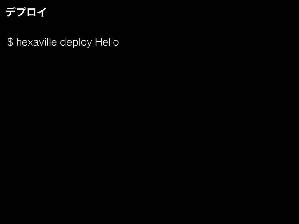 $ hexaville deploy Hello σϓϩΠ