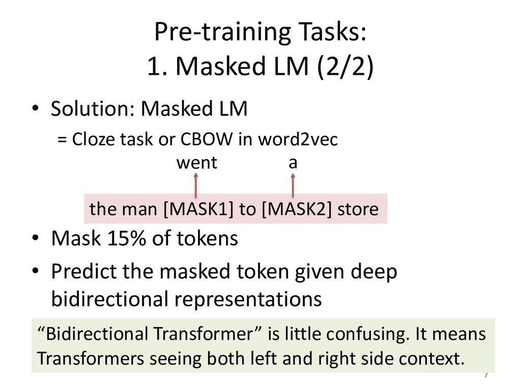 Pre-training Tasks: 1. Masked LM (2/2) • Soluti...