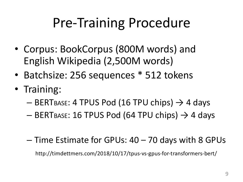 Pre-Training Procedure • Corpus: BookCorpus (80...