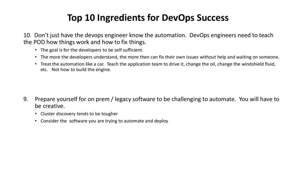 10. Don't just have the devops engineer know th...