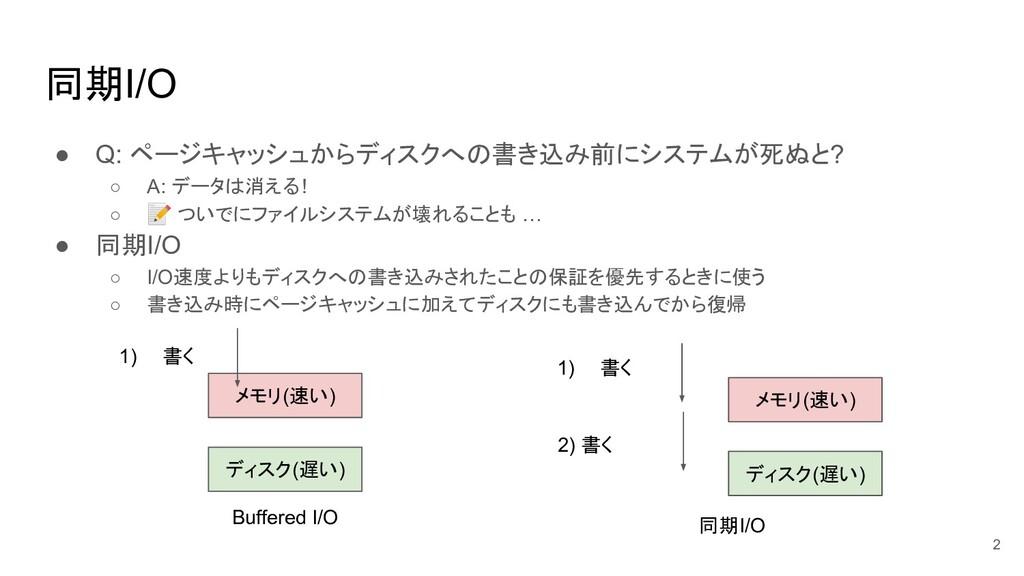 同期I/O ● Q: ページキャッシュからディスクへの書き込み前にシステムが死ぬと? ○ A:...