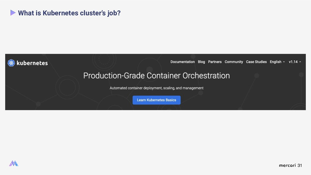 31 What is Kubernetes cluster's job?
