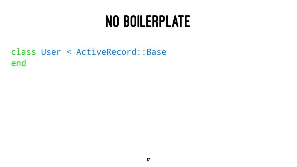 NO BOILERPLATE class User < ActiveRecord::Base ...