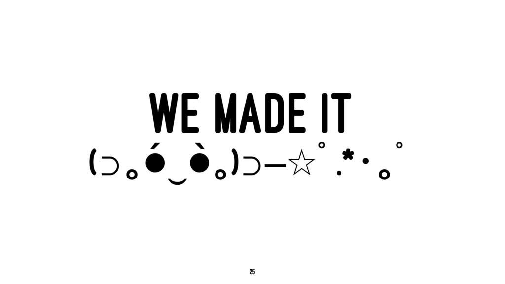 WE MADE IT (⊃ꙏ•́‿•̀ꙏ)⊃━☆ꚍ.*ꙓꙏꚍ 25