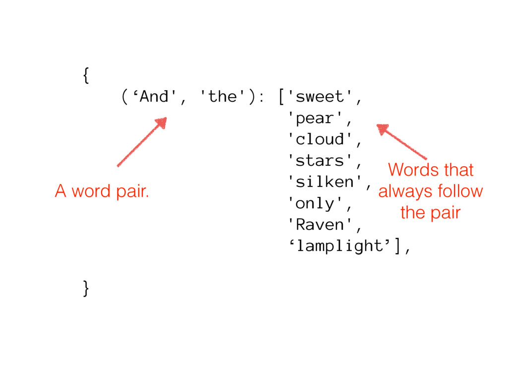 { ('And', 'the'): ['sweet', 'pear', 'cloud', 's...