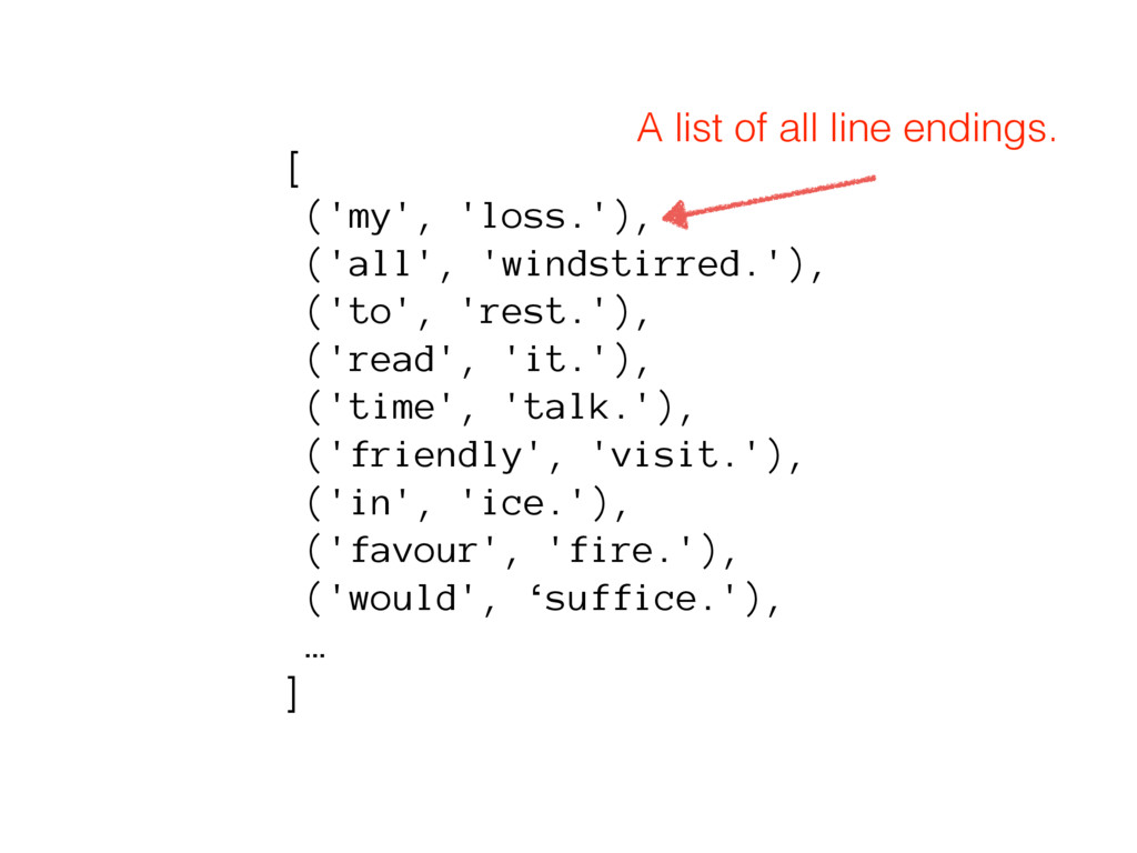 [ ('my', 'loss.'), ('all', 'windstirred.'), ('t...