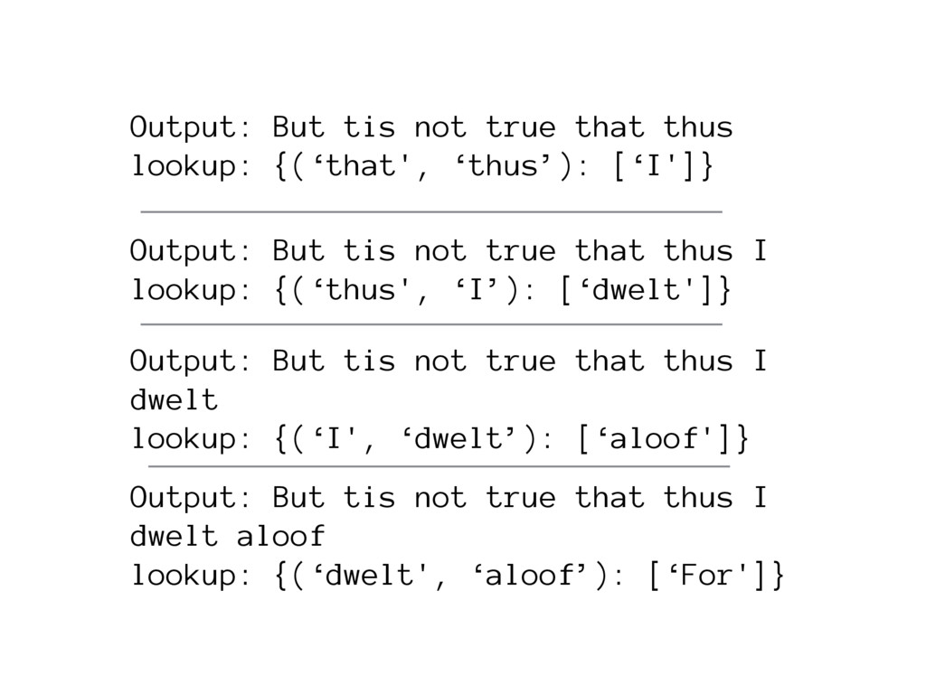 Output: But tis not true that thus lookup: {('t...