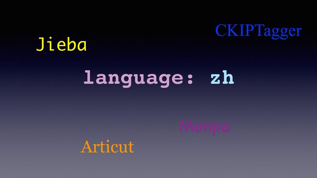 language: zh Jieba Articut CKIPTagger Monpa