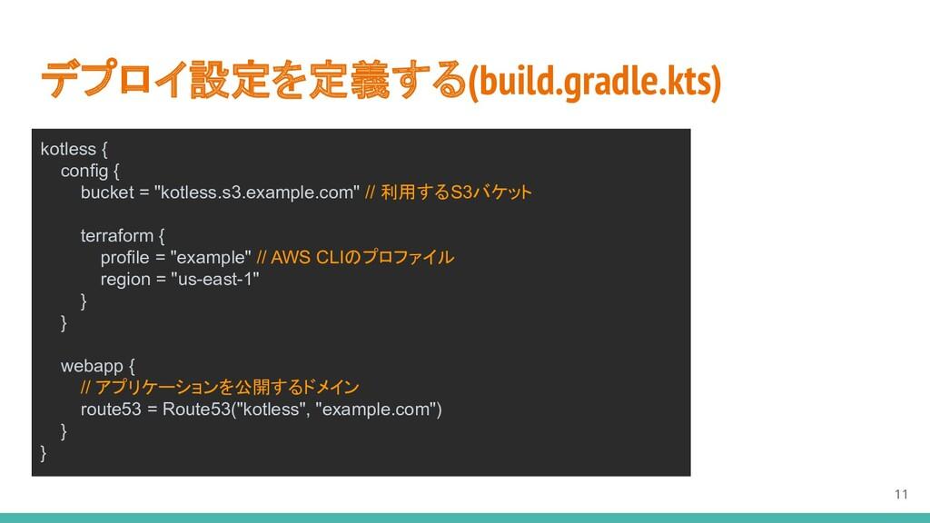 デプロイ設定を定義する(build.gradle.kts) 11 kotless { conf...