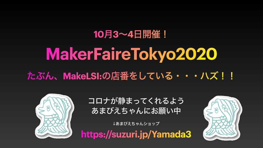 10݄3ʙ4։࠵ʂ MakerFaireTokyo2020 ͨͿΜɺMakeLSI:ͷళ൪Λ...