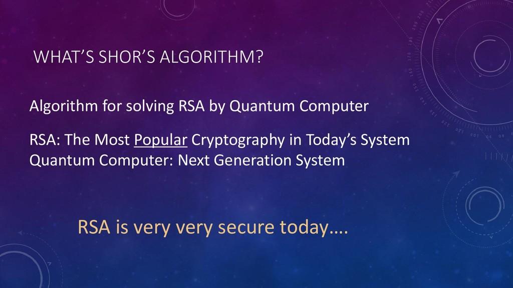 WHAT'S SHOR'S ALGORITHM? Algorithm for solving ...