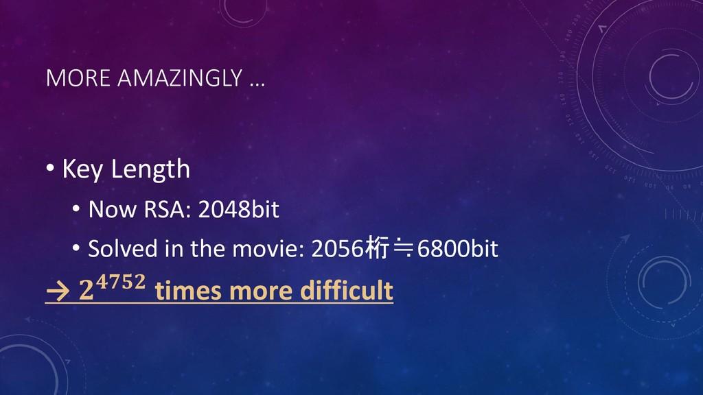 MORE AMAZINGLY … • Key Length • Now RSA: 2048bi...