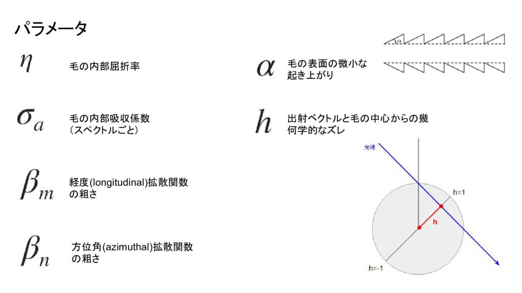 パラメータ 毛の内部屈折率 毛の内部吸収係数 (スペクトルごと) 経度(longitudina...